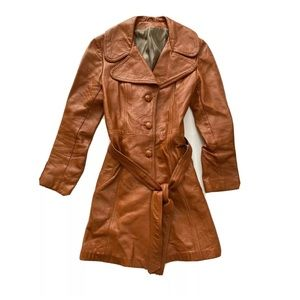 Vintage leather trench coat 70s hippie penny lane